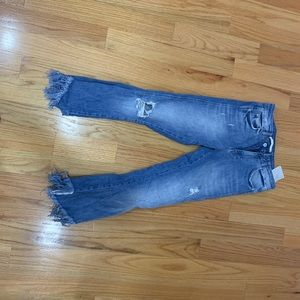 Zara cropped cut off light wash jeans